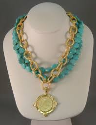 sweet dreams gifts susan shaw turquoise and gold coin necklace 65 00