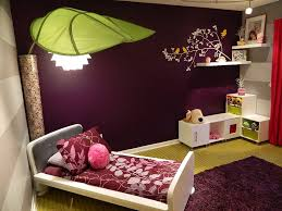 purple large curtains dark bedroom walls queen bed on soft rug completed cream comforter platform white