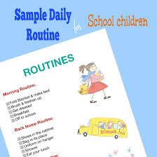 Kids Routine Chart Sample Daily Routine Chart For Children