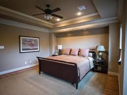m attractive bedroom design with inspiring recessed lighting and ceiling fan also dark brown varnishes oak wood bed frame on grey carpet floor plus twin bedroom recessed lighting