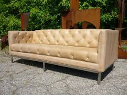 mid century modern leather couch. Image Is Loading 70-039-s-Tufted-Tuxedo-Chrome-Base-Leather- Mid Century Modern Leather Couch