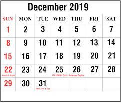 Free Printable December 2019 Calendar Templates Pdf Word