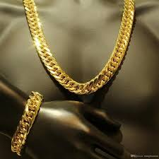 2018 mens thick tight link 18k yellow gold filled fashion miami cuban link chain and bracelet jewelry sets from lisansan 16 09 dhgate