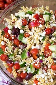 greek pasta salad is an easy side to prep ahead and a hit at every party