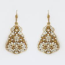 boho chic gold filigree chandelier earrings