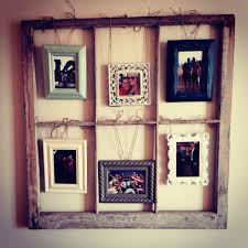 Old Window Frame Projects Made Out Old Window Frame Mix Match Picture Frames Hung With
