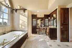 authentic and classic bathroom highlighted with brown wood vanities light brown floor tiling and patterns