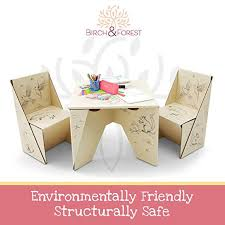 Eco friendly multifunction seating Furniture Birch Forest Ecoorigami Kids Table And Chairs Set Freshomecom Birch Forest Ecoorigami Kids Table And Chairs Set Birch Forest