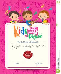 Kids Award Certificate Children Musical Diploma Music Award Template With Kids Cartoon