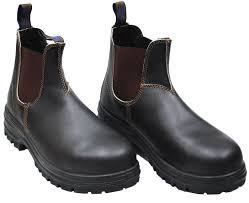 blundstone 140 steel toe work boots pair close