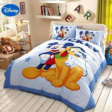 disney bed sheets blue cartoon mickey mouse goofy bedding sets for bedroom decor cotton single cars