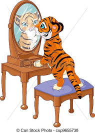 looking in mirror different reflection drawing. tiger cub looking in the mirror - csp9655738 different reflection drawing