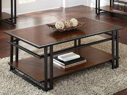 full size of dark brown rectangle industrial style cherry wood coffee table with shelf black metal