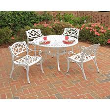 Biscayne 5 piece 42 inch White Cast Aluminum Outdoor Dining Set by