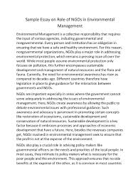 sample essay on role of ng os in environmental management sample essay on role of ngos in environmental management environmental management is a collective responsibility that