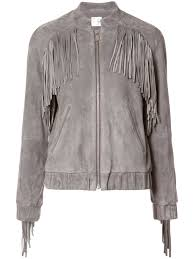 anine bing fringe trim er jacket grey women clothing jackets anine bing charlie boots