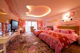 bedrooms for girls hello kitty.  Bedrooms One More Big Room For Two Girls With A Large Window And Television Hello  Kitty Is On The Ceiling Wall Bed Even Floor  To Bedrooms For Girls Y