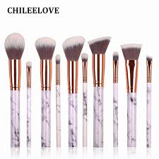 chileelove new arrival 10 pcs marble stripe pro makeup brushes kits blush bulk powder eye shadow