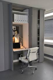 workspace small contemporary home office idea in london with gray walls and a built in desk beautiful furniture small spaces beautiful folding