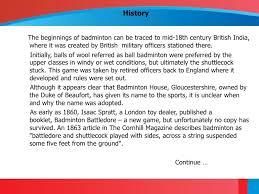 badminton game information