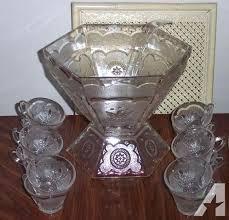 glass punch bowl set kmart vintage federal pattern complete for