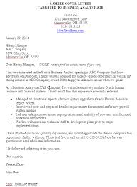 click for sample targeted business analyst cover letter with header cover letter for it company
