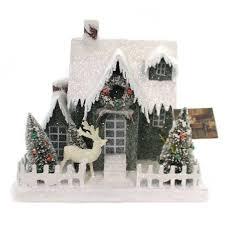 "Christmas 9.5"" Vintage Putz Christmas House Lg Lighted - Decorative  Figurines : Target"