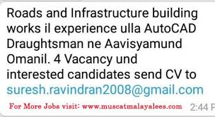 Autocad Draftsman Vacancy For Autocad Draftsman With Road Infrastructure Experience