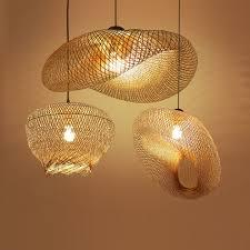 Bamboe Rieten Rotan Wave Schaduw Hanger Lichtpunt Rustieke Vintage