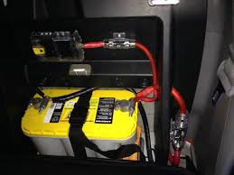 dual battery setups lets see them multiple battery s th finished up a dual battery setup i put an optima 31 in behind the rear passenger seat i also added a blue sea fuse box