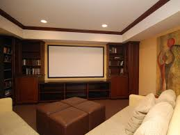 Interior:Spacious Small Basement Media Room Lighting With Wooden  Bookshelves And White Screen Also Brown