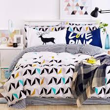 blue owl girls boys bedding set bright color fish horse car bed linen kids duvet cover sets twin full