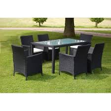 vidaxl outdoor dining set 13 piece poly rattan wicker black seater glass table