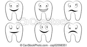 Set Of Cartoon Teeth The Molars With The Emotions On The Face Tooth Vector Comic Pop Art Style Smile Anger And Fun Lnfographics Chart Dental