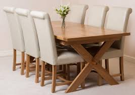 vermont solid oak 200cm 240cm crossed leg extending dining table with 6 washington dining chairs ivory leather