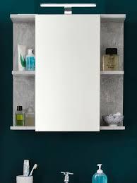 Bad Spiegelschrank Grau Stone Design Grau 60 X 62 Cm Mit Led Beleuchtung Trendteam Nano