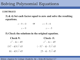 blitzer algebra for college students 6e slide 6 section 5 7 solving polynomial