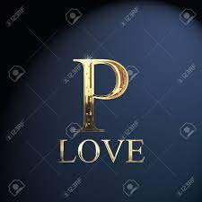 Gold Alphabet Letter P Word Love On A ...