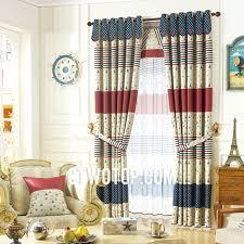 fun beautiful blackout striped beige red and dark blue nautical curtains