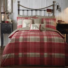 connolly check duvet set in red