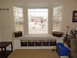 Living Room Window Seat Living Room Futuristic Bay Window Design With Brown Curtain And