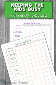 Keeping The Kids Busy With Kid Friendly To Do Lists