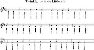 Twinkle Twinkle Little Star Recorder Finger Chart Twinkle Twinkle Little Star Sheet Music For Tin Whistle In