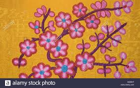 Tibetan Fabric Design Sumptuously Embroidered Tibetan Fabric Floral Embroidery On