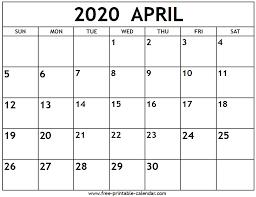 Free Printable April Calendar 2020 April 2020 Calendar Free Printable Calendar Com