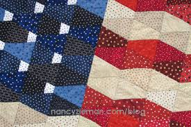 Make this Patriotic Tumbler Flag Quilt with one template by Nancy ... & It's ... Adamdwight.com