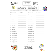 Demonstrative Adjectives and Class Objects Worksheet