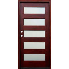 contemporary 5 lite mist lite stained mahogany wood prehung
