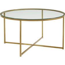 walker edison 36 round alissa coffee table glass gold