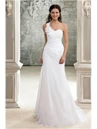 elegant a line one shoulder chapel train pleats wedding dress